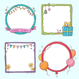 Paczka ręcznie rysowane ramki kolażu urodziny