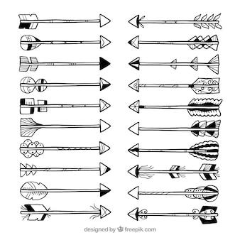 Paczka ręcznie rysowane strzałki