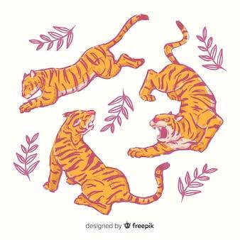 Paczka ręcznie rysowane tygrysów