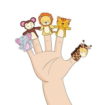 Paczka ręcznie rysowane urocze lalki na palec