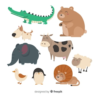 Paczka ręcznie rysowane uroczych zwierzątek