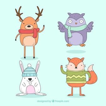 Paczka ręcznie rysowane zabawne zwierzęta