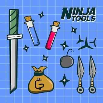 Paczka ręcznie rysowanej broni ninja