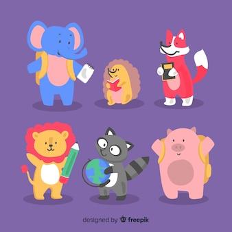 Paczka ręcznie rysowanych zwierząt z powrotem do szkoły