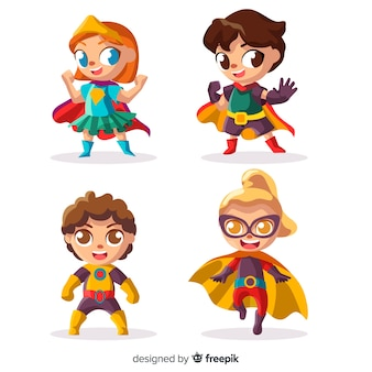 Paczka różnych dzieci superbohaterów