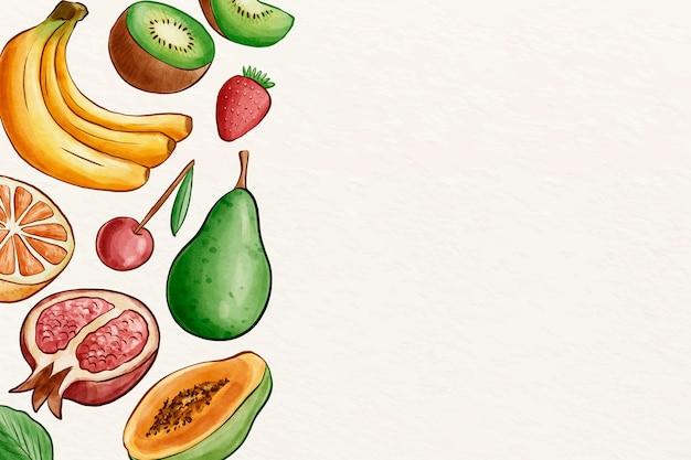 Paczka różnych owoców z miejsca na kopię