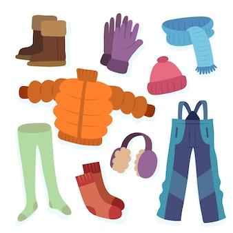 Paczka różnych ubrań zimowych