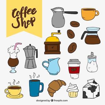 Paczka rysowane ręcznie kawy i cukierków