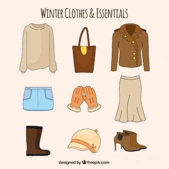 Paczka rysowane ręcznie podstawowe zimowych ubrań kobiecych