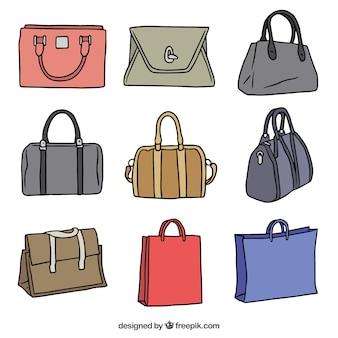 Paczka rysowane ręcznie torebki o różnych kolorach