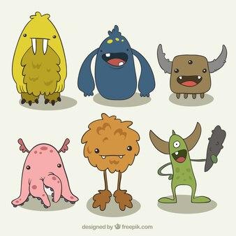 Paczka rysowane ręcznie zabawnych potworów