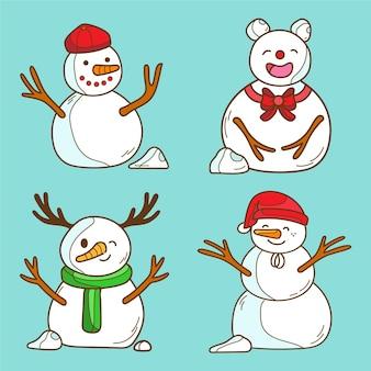 Paczka rysowanych świątecznych postaci bałwana