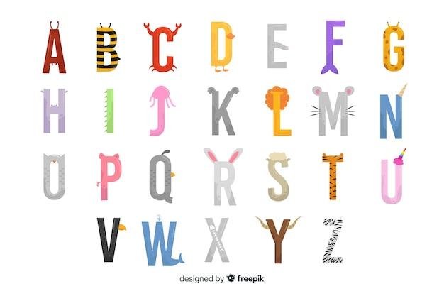 Paczka ślicznych liter zwierząt