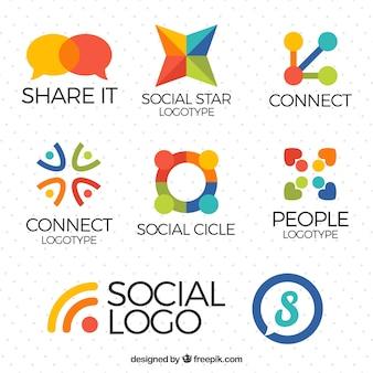 Paczka społecznych logo mediów