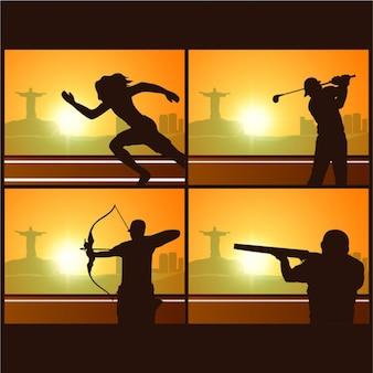 Paczka środowisk sportowych z ciemnymi sylwetkami