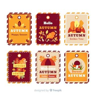 Paczka starych etykiet jesienią