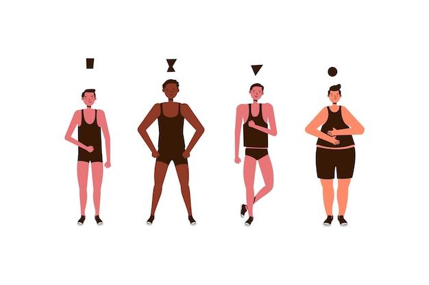 Paczka typów kreskówek męskich kształtów ciała