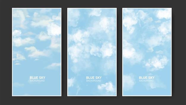 Paczka ulotek z realistycznym niebieskim tłem nieba i chmur