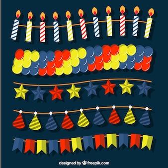 Paczka urodziny elementów dekoracyjnych