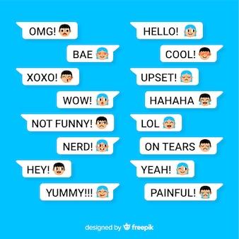 Paczka wiadomości z różnymi emoji