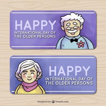 Paczka wielkich banerach na dzień osób starszych