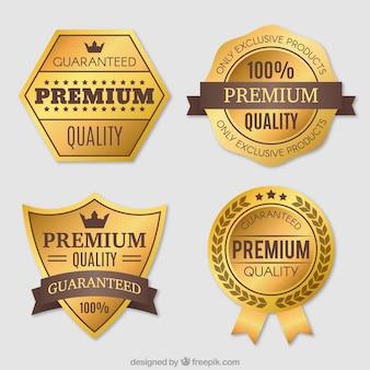 Paczka z czterech rocznika premium złote naklejek