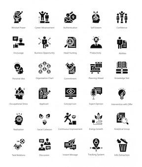 Paczka zasobów ludzkich glif wektorowe ikony