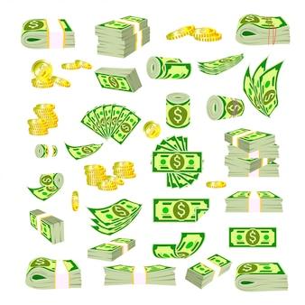 Paczki banknotów pod różnymi kątami.
