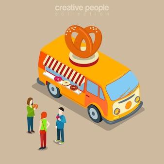 Pączki cookie piekarnia kawiarnia fast food uliczna restauracja bistro w płaskiej koncepcji izometrycznej szczęśliwego hipisa van