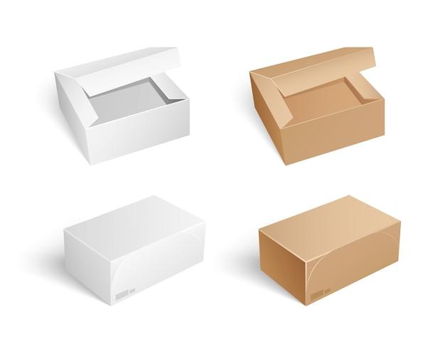 Paczki i pudełka z otwartą czapką ustaw wektor