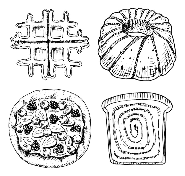 Pączki z chleba i ciasta, belgijskie gofry i słodka bułka lub ciasto owocowe oraz tosty i charlotte. grawerowane ręcznie rysowane w starym szkicu i stylu vintage dla etykiety i menu piekarni. jedzenie organiczne.