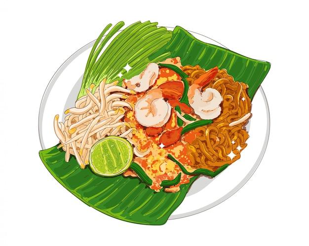 Pad thai lub padthai makaron z pysznym jedzeniem tajskim na białym tle.