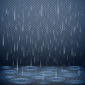 Padający deszcz opuszcza realistyczną wektorową ilustrację
