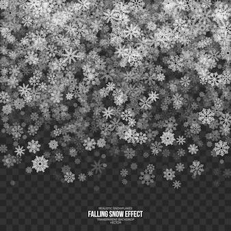 Padający śnieg efekt 3d przezroczyste tło