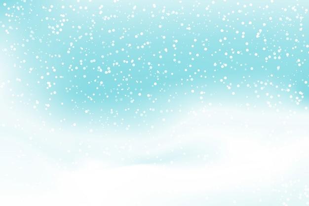 Padający śnieg w tle. ilustracja ze wzgórzami pokrytymi śniegiem. zima, śnieg, niebo.