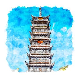 Pagoda szanghaj chiny akwarela szkic ręcznie rysowane ilustracji