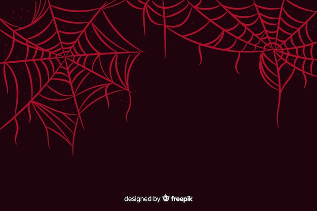 Pająk czerwony halloween web tło