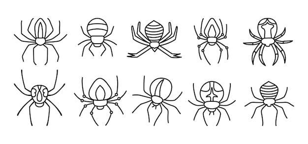 Pająk Halloween Doodle Zestaw Straszne Straszne Pająki Niebezpieczna Kolekcja Tarantuli Kreskówka Premium Wektorów