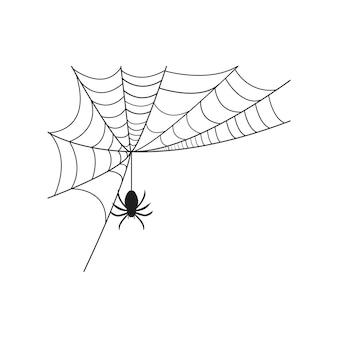Pająk i pajęczyna grafika wektorowa