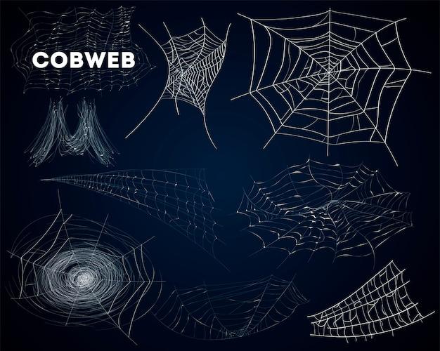 Pająk pajęczyny różnych form na białym tle zestaw