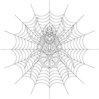 Pająk steampunk ilustracja styl liniowy