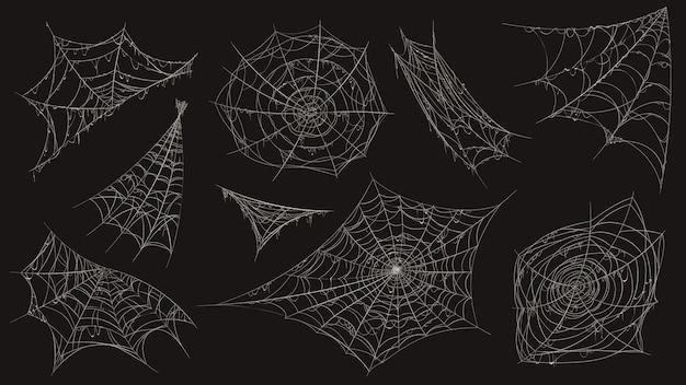 Pajęcza sieć. halloweenowa pajęczyna upiorna dekoracja. narożnik z wiszącą starą zakurzoną pajęczyną. przerażający wystrój pająków biały zestaw lepkiej pułapki wektor zestaw. kącik halloween, nitka pajęczyny, lepka linia