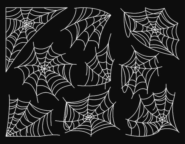 Pajęczyna dekoracja halloween biały zestaw doodle straszna sieć niebezpieczna wisząca ozdoba internetowa horror rama