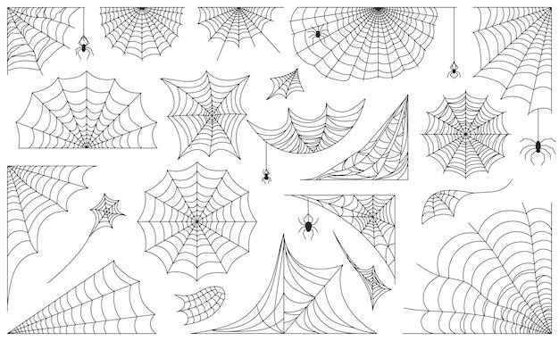 Pajęczyna halloween, czarne ramki pajęczyny, obramowania i narożniki. straszny pajęczyna z pająkami, ozdobne pajęczyny sylwetka wektor zestaw. jesienne elementy dekoracji świątecznych na białym tle