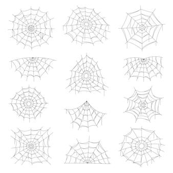 Pajęczyna i pajęczyna halloween na białym tle netto.