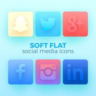 Pakiet 6 z miękkimi płaskimi ikonami mediów społecznościowych