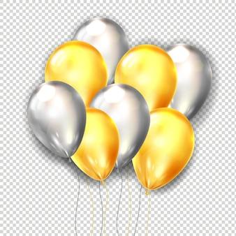 Pakiet balonów. realistyczna wiązka latających błyszczących balonów