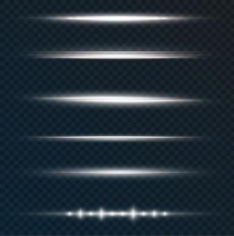 Pakiet białych poziomych flar soczewkowych wiązki laserowe poziome promienie świetlne piękne rozbłyski świetlne