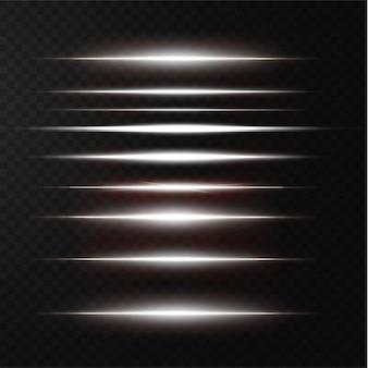 Pakiet białych poziomych flar soczewkowych wiązki laserowe poziome promienie świetlne