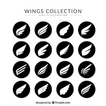 Pakiet białych skrzydeł w czarnych okręgach